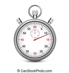Sport Stopwatch with red second hand isolated on a white background.