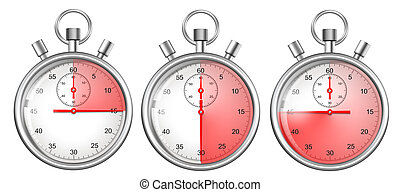 stopwatches set isolated on white with 15, 30, 45 seconds...