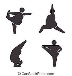 stor, øver, positur, yoga, guys