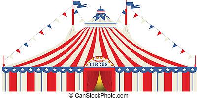 stor, amerikan, cirkus, topp