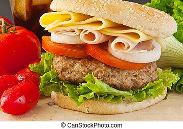 stor, burger