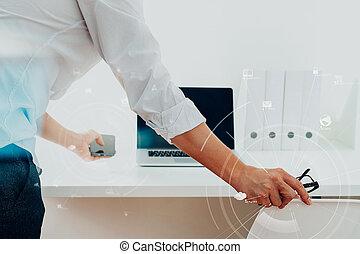 stor, data, analytics, hos, firma, intelligens, (bi), concept.businessman, arbejder, ind, moderne, kontor