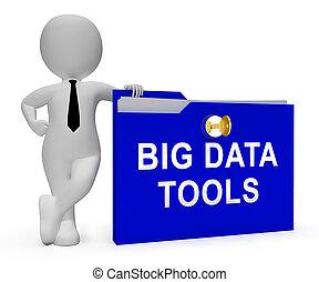 stor, data, redskaberne, digitale, toolbox, 3, gengivelse