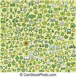 stor, ekologi, doodled, kollektion, ikonen