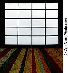 stor, fönstren, och, grunge, planka golvbeläggning