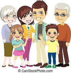 stor, familie, glade