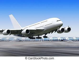 stor, flyvemaskine, ind, lufthavn