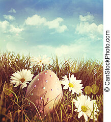 stor, gräs, påsk, tusenskönor, ägg