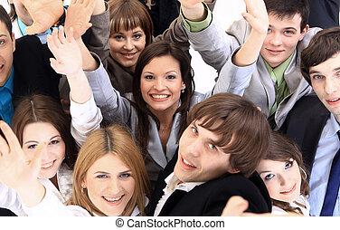 stor grupp, av, affär, folk., över, vit fond