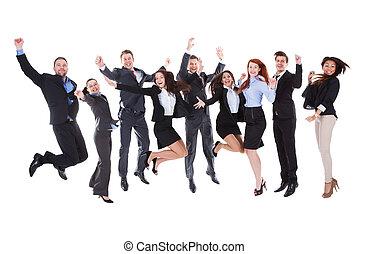 stor grupp, av, spänd, affärsfolk