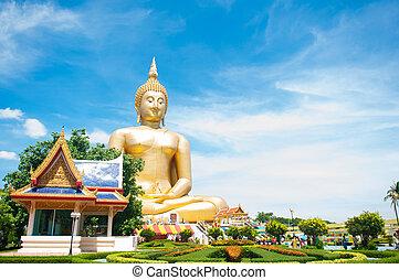 stor, gyllene, buddha, hos, vad, muang, av, ang, läderrem,...
