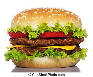 stor, hamburgare, isolerat, vita