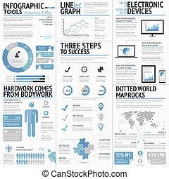 stor, infographic, sæt, elementer
