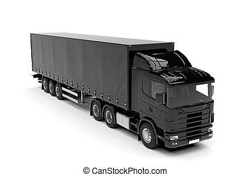 stor, isolerat, lastbil, bakgrund, svart, vit