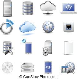 stor, kollektion, av, den, enheter, och, beräkning, ikonen