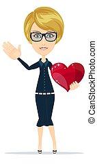 stor, kvinna räcka, rött hjärta