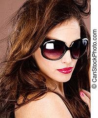 stor, kvinna, svart, glasögon, sol