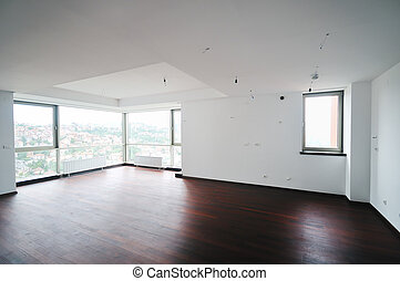 stor, lägenhet, tom, färsk