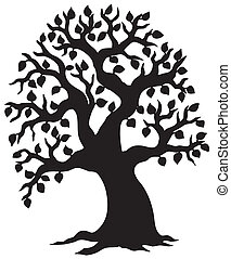 stor, lövad, silhuett, träd