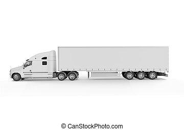 stor, -, lastbil, bakgrund, vit, släpvagn