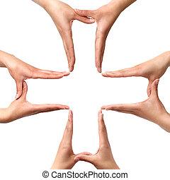 stor, medicinsk, kors, symbol, af, hænder, isoleret