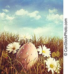 stor, påsk egga, in, den, gräs, med, tusenskönor