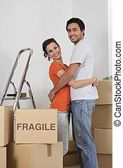 stor, par, flyttning, packat