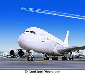 stor, passager, flyvemaskine, ind, lufthavn