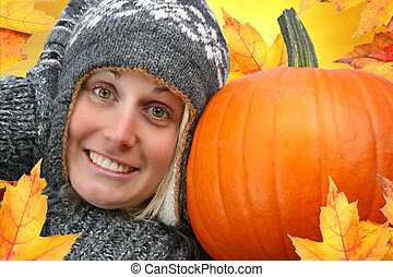stor, pige, pumpkin