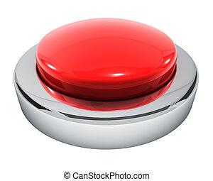 stor, rød knap, isoleret, på hvide, baggrund.