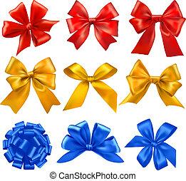 stor, sätta, bugar, gåva, ribbons.