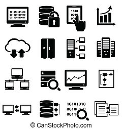 stor, sätta, data, ikon