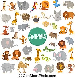 stor, sæt, cartoon, bogstaverne, dyr