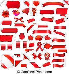 stor, sæt, rød, elementer