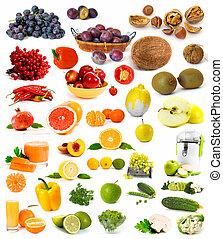 stor, samling, i, grønsager