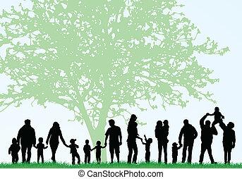 stor, silhouettes, familj