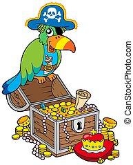 stor, skatta bröstkorg, med, sjörövare, papegoja