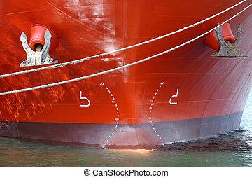 stor, skib, closeup