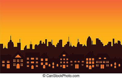 stor, skyline silhuet, byen