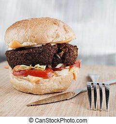 stor, smaklig, burger