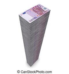 stor, stapla av pengar, -, fem hundra, euro antecknar