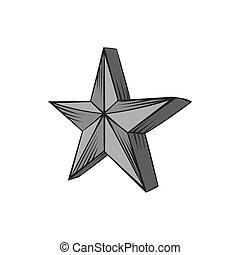stor stjärna, ikon, svart, monokrom, stil