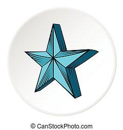 stor stjärna, ikon, tecknad film, stil
