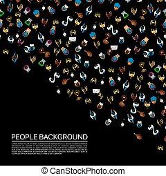 stor, svart, bakgrund., folkmassa, folk