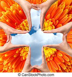 stor, symbol, kors, isoleret, hænder, medicinsk