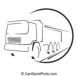 stor, symbol, lastbil
