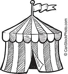 stor topp, cirkus, skiss