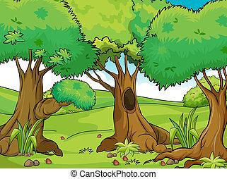 stor, træer