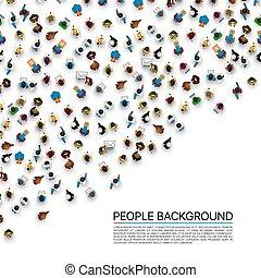 stor, vit, bakgrund., folkmassa, folk