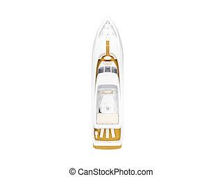 stor, yacht, isoleret, top udsigt